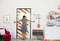 Metallic Stripe Door DIY using contact paper