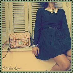 #dress #black #collar #lace #vintage #polka dots #bag #vintage #girly #romantic #boutik