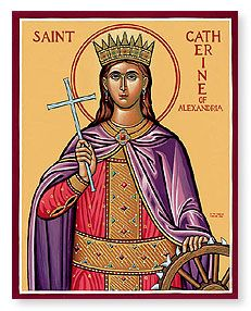 St. Catherine of Alexandria, with her attribute, the breaking wheel.