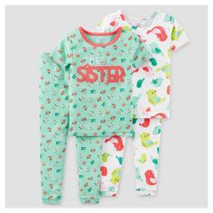 Toddler Girls' 4-Piece Snug Fit Cotton Pajamas Best Sister 5T - Just One You Made by Carter's, Blue