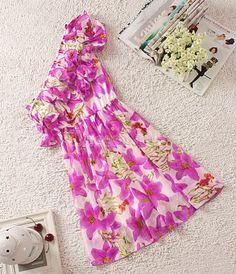 Oblique Shoulder Chiffon Dress