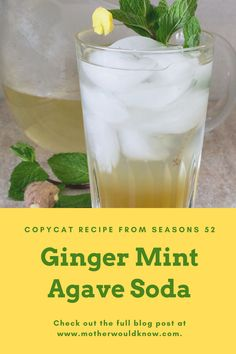 A fabulous, refreshing non-alcoholic drink. Whether you make a glass or a pitcher full, you'll enjoy this soda on warm weather days or evenings. Sip it alone or with an appetizer or a meal. How To Peel Ginger, Fresh Ginger, Non Alcoholic Drinks, Beverages, Vegan Gluten Free, Vegan Vegetarian, Seasons 52, Agave Nectar, Copycat Recipes