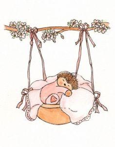 Nursery art Hedgehog watercolour painting by heartsandballoons, $15.00