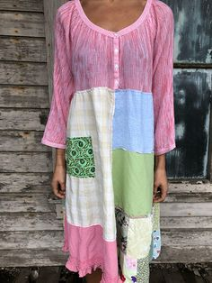 """Romantic/Tattered/Rustic/Boho/Gypsy upper part of dress is made with cotton and has buttons along the front lower part of dress is made with a variety of panels and has pocket along front Size-2X 3X Chest-60"""" Hips-70"""" Length-43"""""""