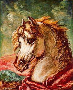 De Chirico- Cabeza de caballo blanco con crines al viento. 1959