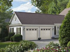 Amarr Short Panel garage door in Almond with Cascade DecraTrim. Available in Olympus, Heritage™, Lincoln, and Stratford® Collections. Visit www.amarr.com for more great styles.