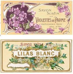 Vintage 11 Violet Lilac French Perfume Bottle Label Stickers Scrapbooking Crafts