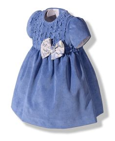 Vestido en pana fina azul para bebé