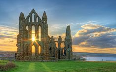 Whitby Abbey, Scarborough, North Yorkshire, England.  It was disestablished during the Dissolution of the Monasteries under Henry VIII.
