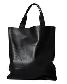 Black Leather Tote Web Handle | London Edit | Wolf & Badger