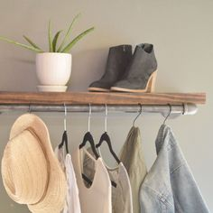 "Clothing Display Rack With Wood Shelf Pictured: - 12"" D x 30"" L, Shelf 1.5"" x 10""D - Black Steel Pipe - Protective coating"