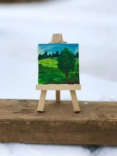 Original ACEO painting, Miniature art canvas, original ATC, 2 x 2, tiny easel #Artisttradingcard #original art #tiny art #mini easel #tiny landscape # #mini canvas