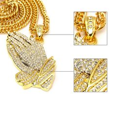 Iced Out Big Necklace Pave Full Cubic Zircon 18k Yellow Gold Pated Palm Hand Pendant Chain Necklace Men Hip Hop Jewelry