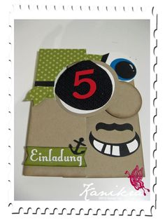 """Piraten-Einladung"", made by Kanikra Pirate Birthday invitation, made with SU Circle Card thinlits die, punch art"