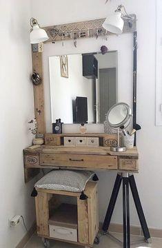 diy makeup vanity - Google Search Rustic Makeup Vanity, Makeup Table Vanity, Rustic Vanity, Vanity Ideas, Diy Vanity Table, Makeup Tables, Farmhouse Vanity, Gray Vanity, Vanity Stool