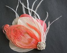 Coral Salmon Ivory Peacock Feather Fascinator