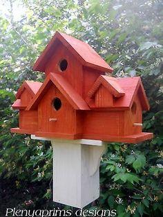 Birdhouse 4 nest bird house. Folk art primitives cabin in the woods bird house