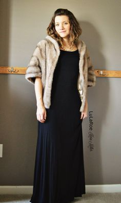 LuLaRoe Ana maxi dress with fur shawl for fashion trends. Shop here: https://www.facebook.com/groups/LularoeKaraMiller/