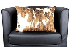 Cow Print Brown & White Pillow Cover Cow Lumbar Cover Cow