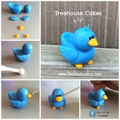 Step by Step Little Bluebird Modelar pájaro en fondant