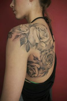 Women Back Rose Flower Tattoos