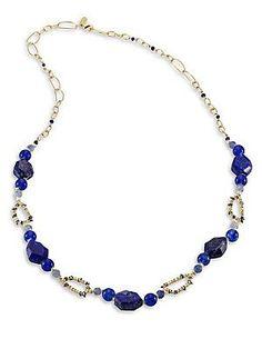 Alexis Bittar Miss Havisham Beaded Chain Necklace - Blue - Size No Siz