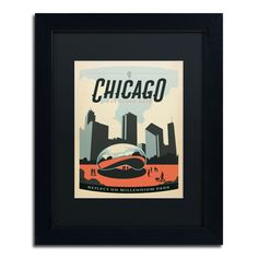 'Chicago Cloud Gate' by Anderson Design Group Framed Graphic Art