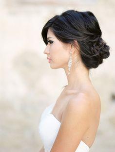 Romantic updo wedding hairstyle idea; photo: Jeremy Chou