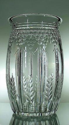 Val St-Lambert vase 'Lilas' répertorié S/180 - Joseph Simon - années 30/40 - H 29 cm, 4 kg.