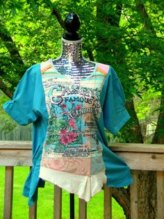 Reconstructed Knit Tunic T Shirt Tee Altered by JacketsbyJahne, $50.00