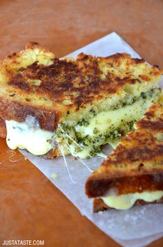 Homemade Irish Soda Bread Grilled Cheese with Pesto #recipe on justataste.com