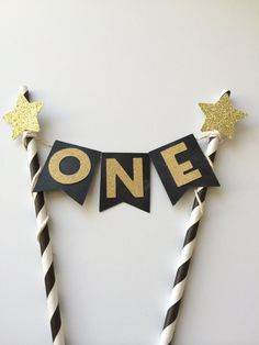 Chalkboard and Gold Glitter ONE Cake Bunting Banner. 1st Birthday Cake Topper. Smash Cake. Twinkle, Twinkle Little Star