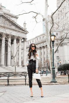 Most Complimented Pants :: Leather pants & Ruffle top :: Outfit :: T O P :: Rebecca Minkoff B O T T O M :: Marissa Webb B A G :: Mark Cross S H O E S :: Christian Louboutin A C C E S S O R I E S :: Karen Walker sunglasses   David Yurman & Tiffany & Co. rings PUBLISHED: January 29, 2018