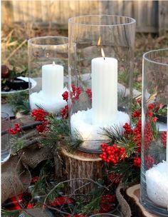 Christmas Is Coming : Simple classic centerpiece using white candles, salt snow, and rustic wood slices