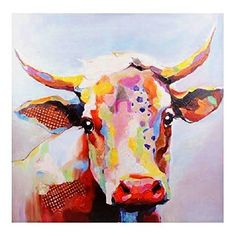Amazon.com: LARGE 50' x 50' Opulant Color Betsy Cow Oil Painting Canvas Portrait Art Print Farmhouse Rustic Decor Wall Picture Hanging: Acrylic Paintings