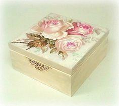 Decoupage tea box  jewellery box  jewelry box  by CarmenHandCrafts
