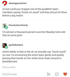 """We say """"touch wood"""" in Spain too! Gay Harry Potter, Harry Potter Marauders, Harry Potter Facts, Harry Potter Universal, Harry Potter Funny Tumblr, Weasley Twins, No Muggles, Harry Potter Pictures, Best Of Tumblr"""