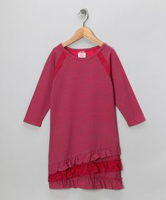 Take a look at this Red Stripe Ruffle Dress - Girls on zulily today!