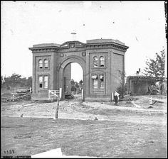 One of the more notable photos of Gettysburg is the gateway arch to the famed Evergreen Cemetery, which lies directly beside the Soldiers National Cemetery and for which Cemetery Hill and Ridge are named for. On the left is how it appeared just after the battle in 1863.