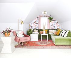 We're loving this punchy attic makeover from Jodi Bond! Packed full of greens and pinks and featuring Bassett pieces including our Knox Sectional Sofa in velvet, it truly is an oasis!  Check out her blog for more here: