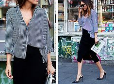 Zara Shirt, Massimo Dutti Pencil Skirt, Jimmy Choo Sling Pumps styled by Nina @ www.de in Stripes Pencil Skirt Outfits, Classic Skirts, Zara Shirt, Professional Look, Office Outfits, Summer Looks, Street Style, Style Inspiration, Stylish