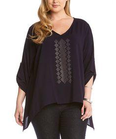 4589413c373 Love this Navy Sparkle Sidetail Top - Plus by Karen Kane on  zulily!   · Plus  Size SummerHow To Roll SleevesKaren KanePeasant TopsPlus ...