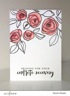 This floral stamp set features roses and leaves painted with a hand-carved bamboo stick, helping you create unique and elegant images on your handmade card. Rose Doodle, Doodle Art, Zen Doodle, Calligraphy Cards, Posca Art, Flower Doodles, Doodle Flowers, Get Well Cards, Watercolor Cards