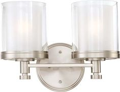 Buy the Nuvo Lighting 60/4642 Brushed Nickel Direct. Shop for the Nuvo Lighting 60/4642 Brushed Nickel Decker Two Light Bathroom Fixture with Clear and Frosted Glass, in Brushed Nickel Finish and save.