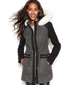 Laundry by Shelli Segal Hooded Faux-Fur-Trim Walker Coat- Macy's $170 plus 10% off