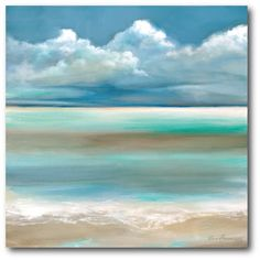 Wexford Home Ruane Manning 'Tranquility By The Sea I' Gallery-wrapped Canvas Wall Art Seascape Paintings, Painting Prints, Coastal Art, Beach Art, Painting Inspiration, Canvas Wall Art, Watercolor Paintings, Art Projects, Wrapped Canvas
