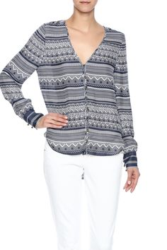 Blue and white printed top with a v-neckline button front closure and buttoned cuffs.  The Bahia Blouse by Veronica Beard. Clothing - Tops - Long Sleeve Clothing - Tops - Blouses & Shirts Oklahoma