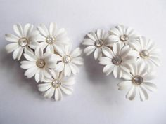 1950's Clip on Plastic with Rhinestone Flower Earrings.  Great Condition.
