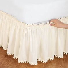 Pom Fringe Bedskirt from Collections Etc.cute, cheap option for girls bed skirt in white No Sew Curtains, Rod Pocket Curtains, Valance Curtains, Girls Bedroom, Bedroom Decor, Burlap Bedroom, Bedrooms, Decoration Shabby, Collections Etc