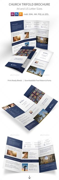 Church Trifold Brochure 3  #religious #service #template • Available here → http://graphicriver.net/item/church-trifold-brochure-3/15800659?ref=pxcr